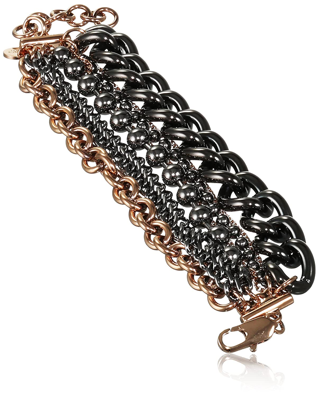 Dyrberg/Kern Damen-Armband 15/02 Deane/B Rg Gun Metal Messing teilvergoldet 22.2 cm – 338273 günstig