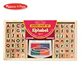 Melissa & Doug Alphabet Stamp Set (Stamps with Lower-Case and Capital Letters, 4 Colors, 56-Stamps) (Color: Multi, Tamaño: Child)