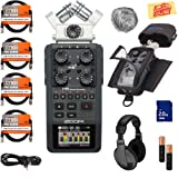 Zoom H6 Handy Recorder Bundle with Zoom PCH-6 Case, Headphones, WSU-1 Windscreen, SD Card, 4 XLR Cables, Aux Cable, AA Batteries, and Austin Bazaar Polishing Cloth (Color: Bundle w/ Headphones, Tamaño: H6)