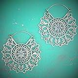 White Brass Mandala Earrings Hangers Ear Gauges Piercing Jewelry