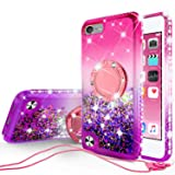 SOGA Rhinestone Liquid Float Quicksand Cover Cute Girl Phone Case Compatible for iPod Touch 5/iPod Touch 6 Case, with Embedded Metal Diamond Ring for Magnetic Car Mounts and Lanyard - Pink on Purple (Color: Pink / Purple)