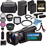 Sony HDR-CX900 HDRCX900/B Full HD Handycam Camcorder (Black) + Rechargable Li-Ion Battery + Charger + Sony 128GB SDXC Card + Case + Tripod + HDMI Cable + Card Wallet + Card Reader + Fibercloth Bundle (Color: Pro)
