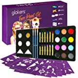Glokers Face Paint Set | Face painting Kit Contains Cake Paints, Crayons, Paint Brushes, Glitter, Sponges and Stencils | Sensitive Skin Face and Body Paint | Suitable for Adults and Children | FDA app (Color: Gold)