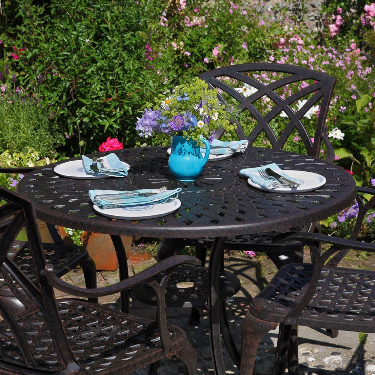 Mia 90cm rundes Gartenmöbelset Aluminium - 1 MIA Tisch + 4 MARY Stühle