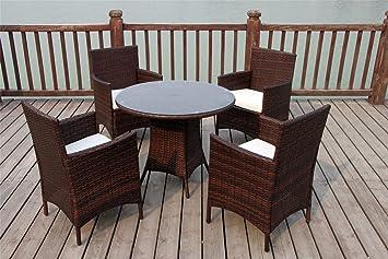 NEW BISTRO 2-4-6 SEATER RATTAN WICKER DINING OUTDOOR GARDEN FURNITURE SET (Dark brown 4 seater)