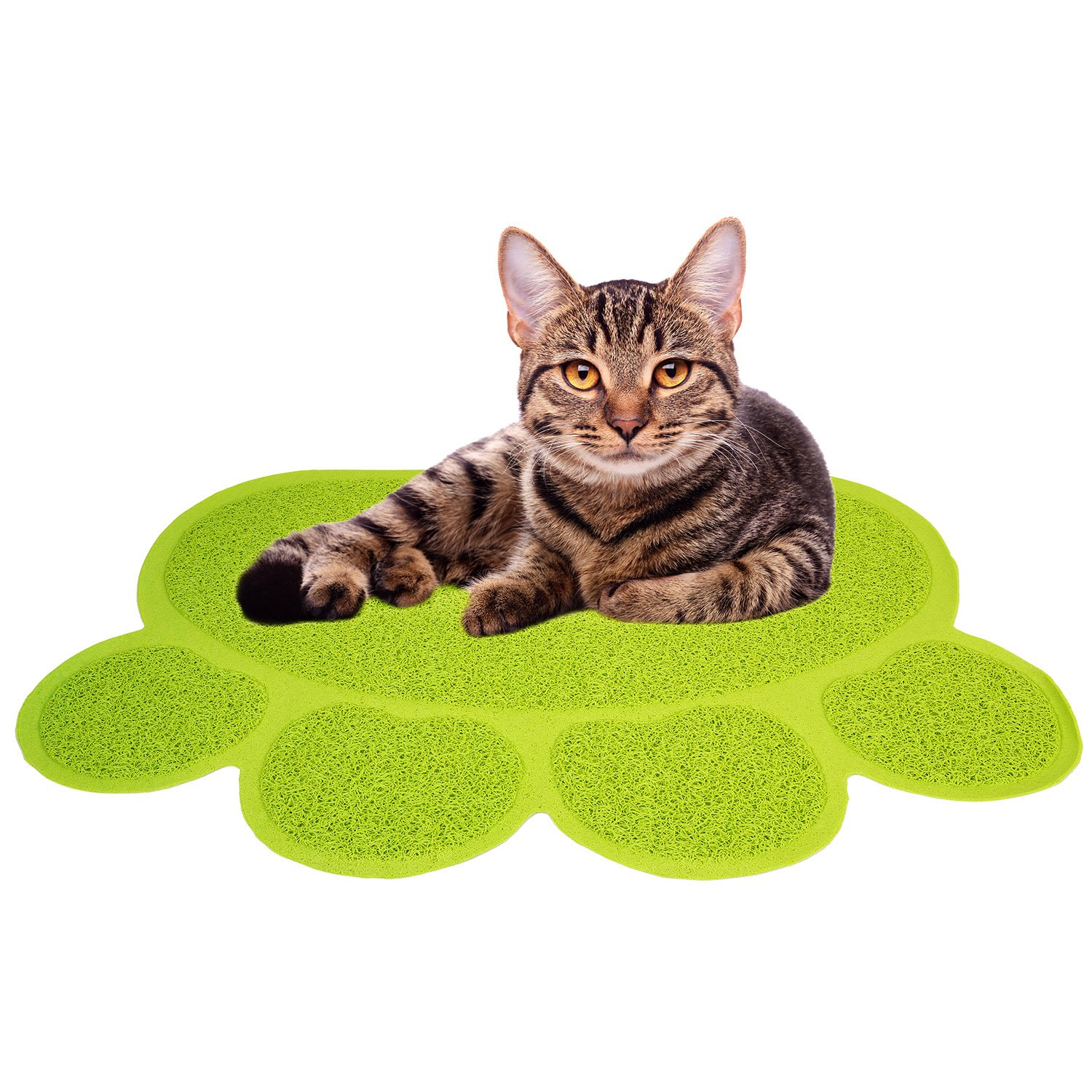 Jumbl Smartgrip Paw-Shaped Cat Litter Mat – Innovative Grass-Like Material Traps and Catches Litter While Remaining Soft On Paws