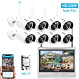Security Camera System Wireless, 12.5-inch LCD Monitor All in One CCTV WiFi NVR Kit with 8pcs 1080P HD Outdoor/Indoor Video Surveillance IR Night Vision IP Cameras, Best Security System 2TB HDD