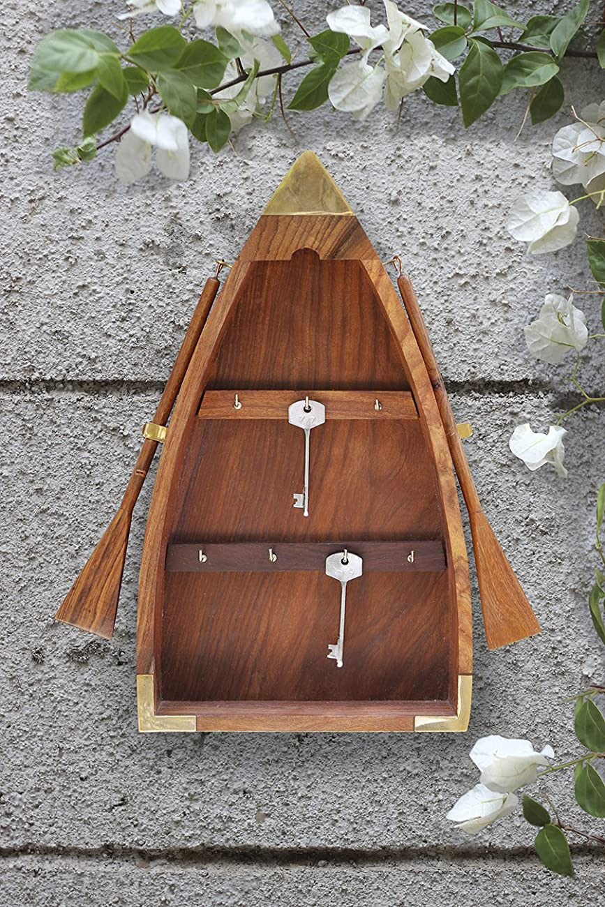 Diwali Gifts Vintage Boat Shaped Key Guard Handmade Sheesham Wood Key Cabinet Organizer 5