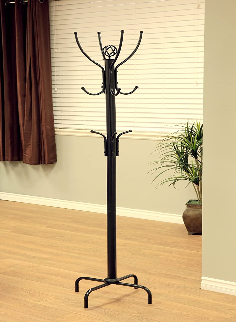 Frenchi Furniture Black Metal Coat Rack, 12 Hooks 1