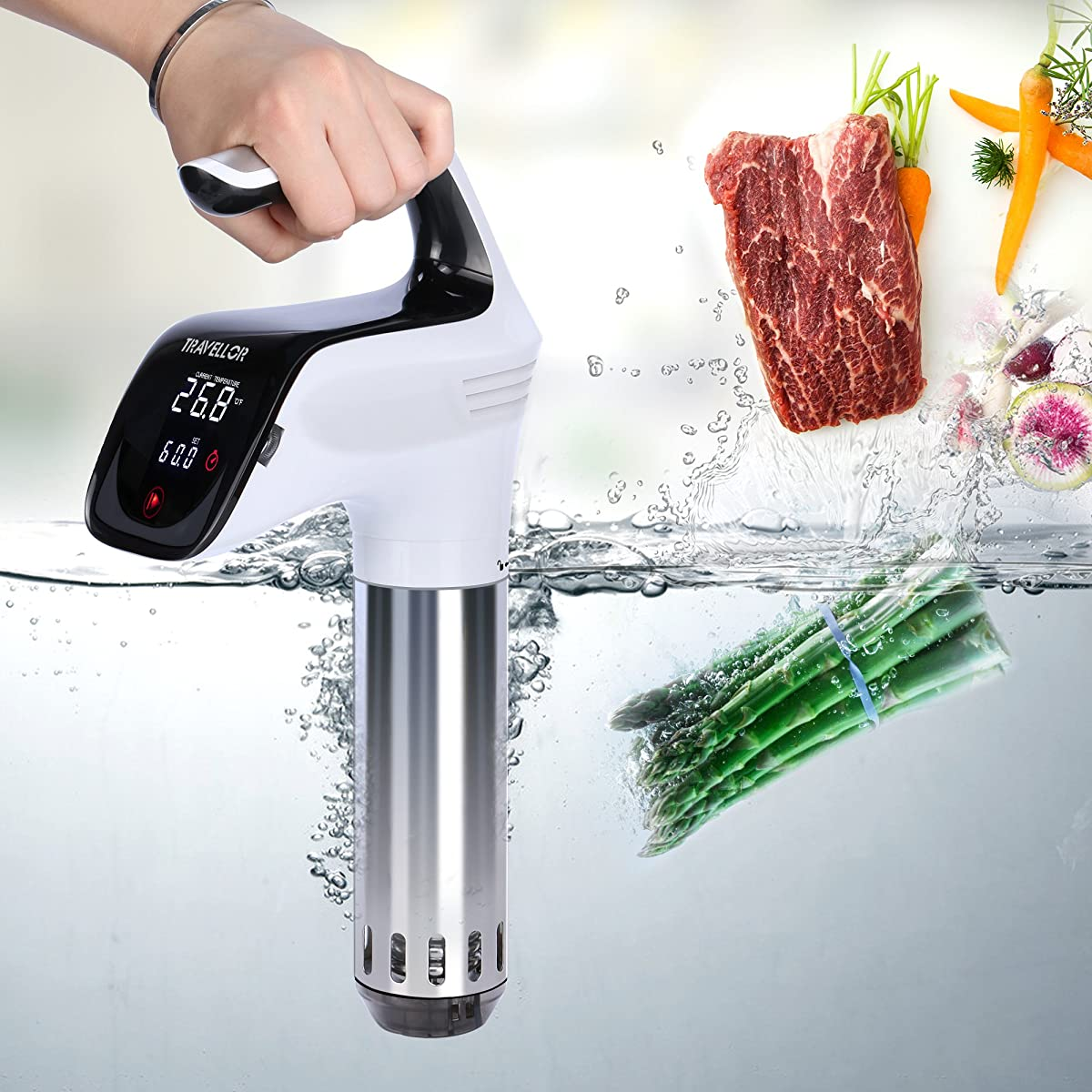 Sous Vide Travellortech Precision Cooker Immersion Circulator ,120V 850 Watts White