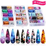 30 Color Nail Foil Transfer Sticker, Kissbuty Holographic Flower Nail Art Stickers Tips Wraps Foil Transfer Adhesive Glitters Acrylic DIY Nail Decoration, 3 Boxes (Flowers Glitters Starry Sky) (Color: Flowers Glitters Starry Sky)