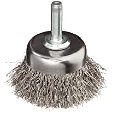 "Weiler Stem-Mounted Wire Cup Brush, Round Shank, Stainless Steel 302, Crimped Wire, 1-3/4"" Diameter, 0.0118"" Wire Diameter, 1/4"" Shank, 3/4"" Bristle Length, 13000 rpm (Pack of 1)"