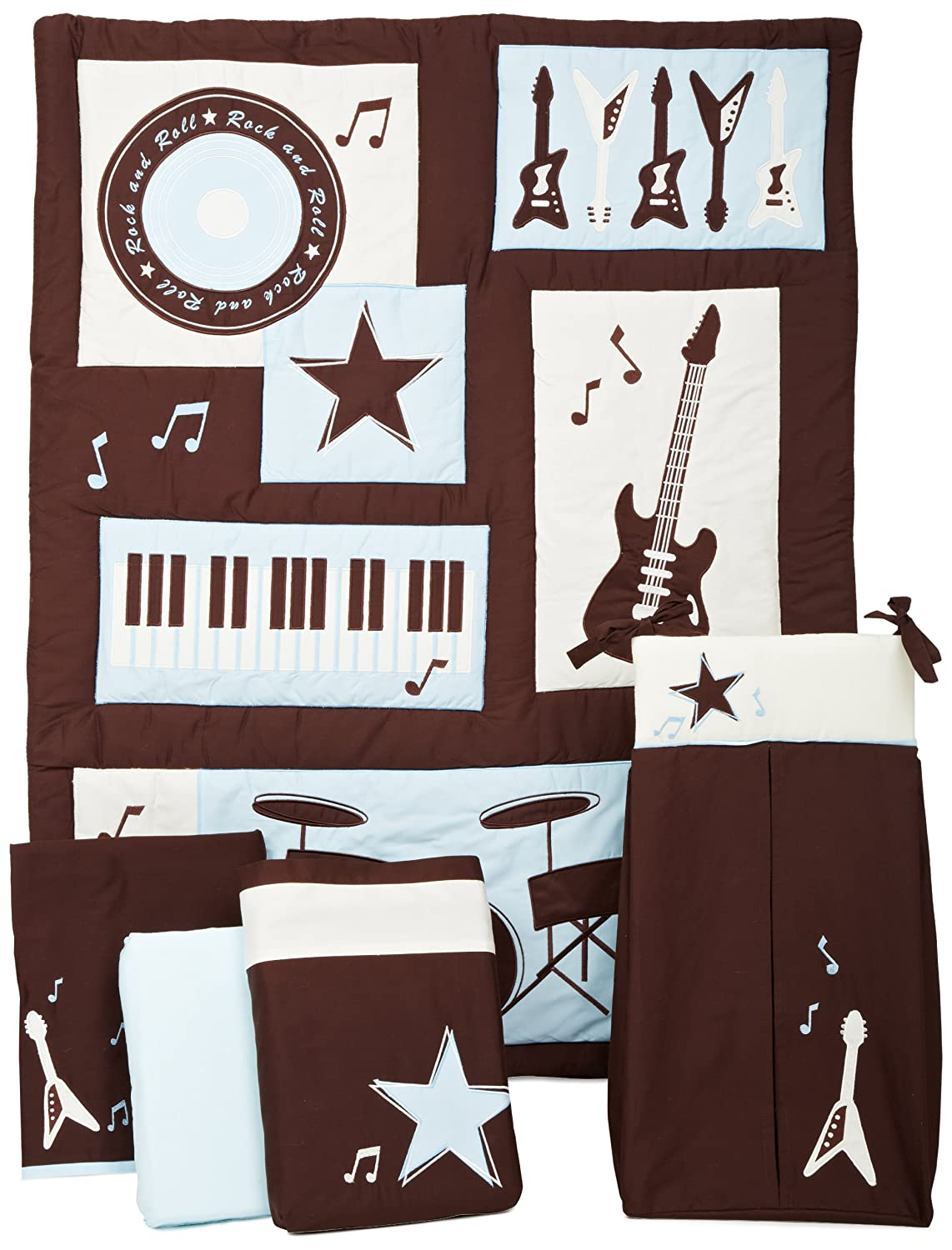 Guitar bedding totally kids totally bedrooms kids for Rock n roll baby crib set