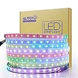 ALITOVE 12V WS2812B LED Strip Light WS2813 12V RGB Addressable LED Pixel Tape Light WS2815 Programmable LED Felxible Strip 16.4ft/5m 300 LEDs Waterproof IP67 White PCB for Arduino Raspberry Pi Project (Color: White Fpcb, Tamaño: 300 LEDs Waterproof IP67)