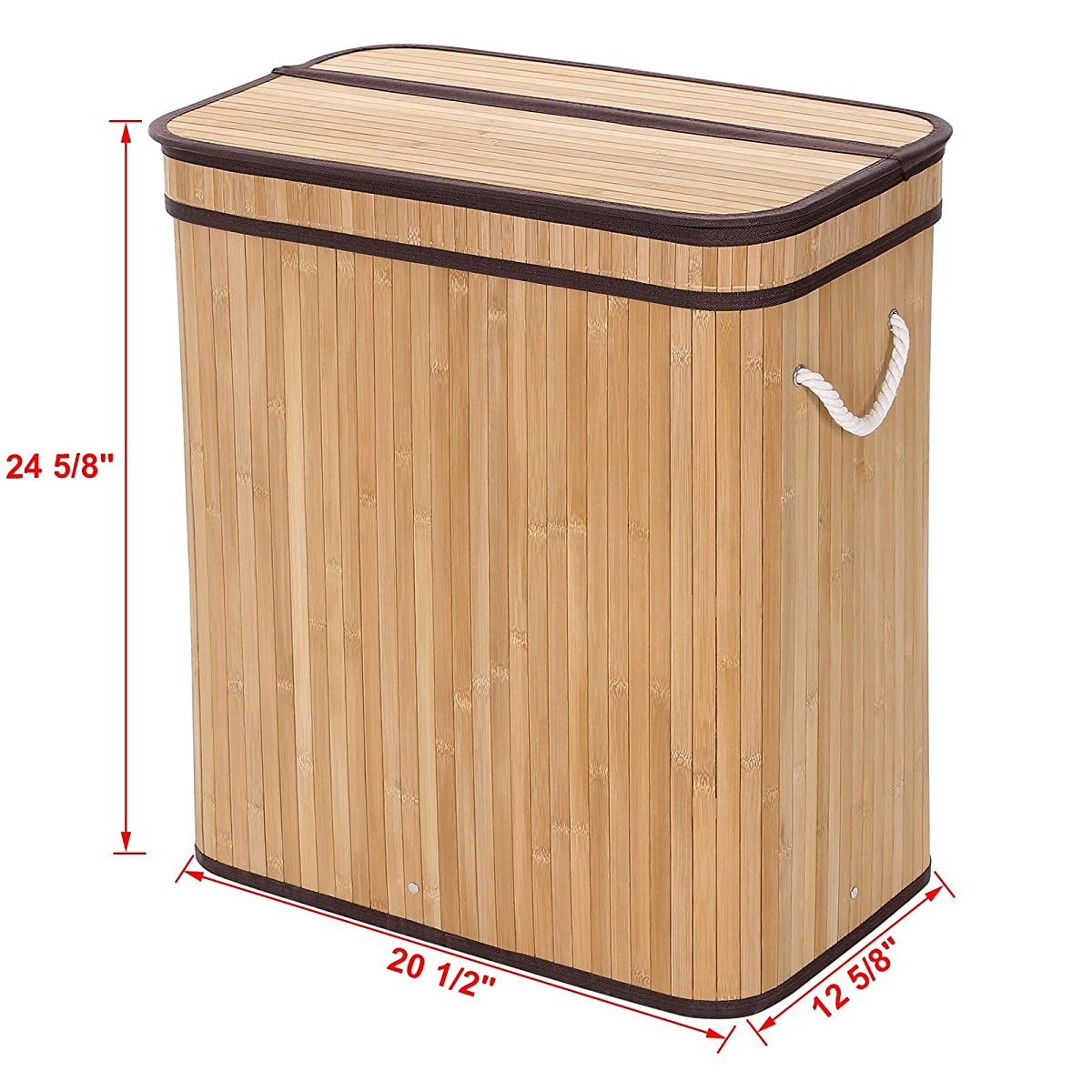 Songmics Laundry Hamper Basket Double Clothes Storage