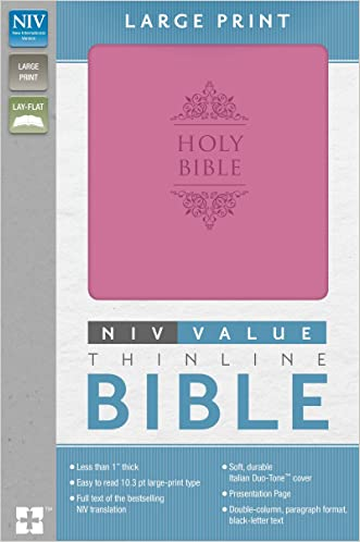 NIV, Value Thinline Bible, Large Print, Imitation Leather, Pink written by Zondervan