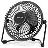 OPOLAR F401 Mini USB Table Desk Personal Fan (Metal Design, Quiet Operation 3.9' USB Cable, High Compatibility), Black (Color: Black, Tamaño: 4Inch)
