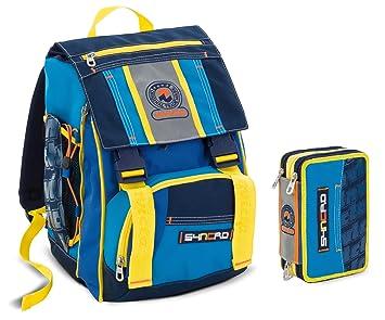 1f8bd5a76a Zaino scuola sdoppiabile INVICTA + ASTUCCIO - SYNCRO- blue - bambino -  elementari e medie 28 LT pack: Prima infanzia: Bestseller!