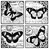Crafty Individuals CI-135 Unmounted Rubber Stamp, 4 Beautiful Butterflies