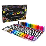 Sunshilor Metallic Markers Paint Pens, Medium Point Paint Markers Metallic Marker Pens for Black Paper, Glass, Wood, Fabric, Rock Painting, Card Makin