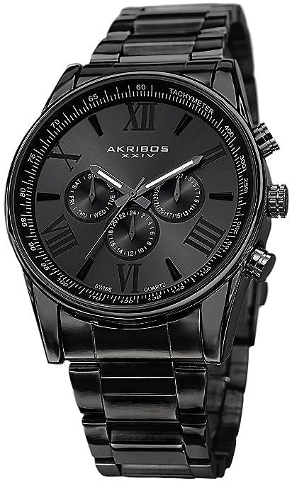 Akribos-XXIV-Men-s-AK736BK-Ultimate-Swiss-Multifunction-Black-Stainless-Steel-Bracelet-Watch