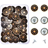 Hestya 40 Sets Jeans Buttons Metal Button Snap Buttons Replacement Kit with Rivets and Plastic Storage Box (Bronze) (Color: Bronze)