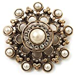 Antique Gold Filigree Simulated Pearl Corsage Brooch