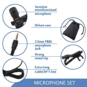 Dreokee Mini Microphone Pack of 3, 3.5mm Portable Clip on Small With 1.5m Wire for Phone Speaker Omnidirectional Mic