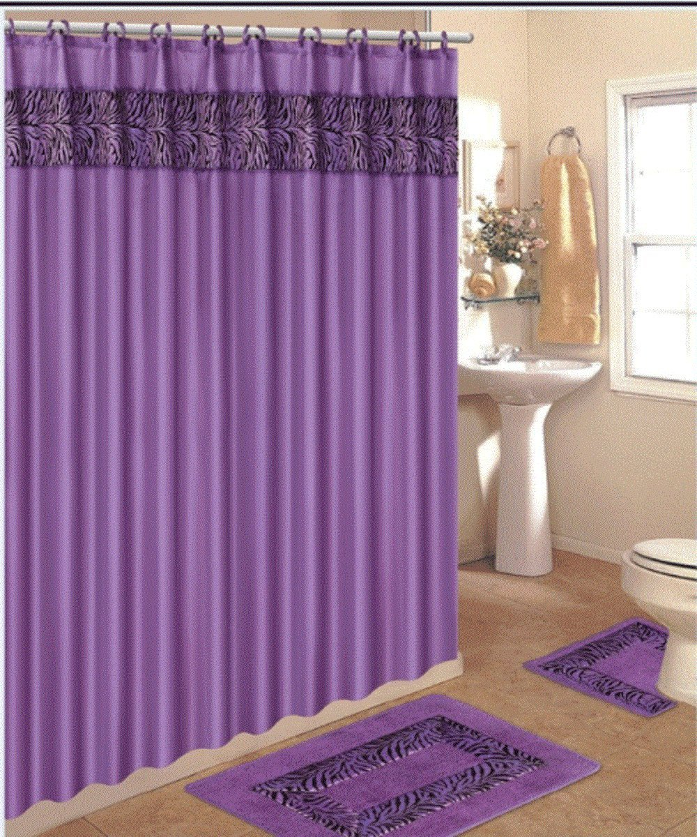 Purple cheetah print curtains - Safari Shower Curtains Animal Print 4 Piece Bath Rug Set 3 Piece Purple Zebra Bathroom