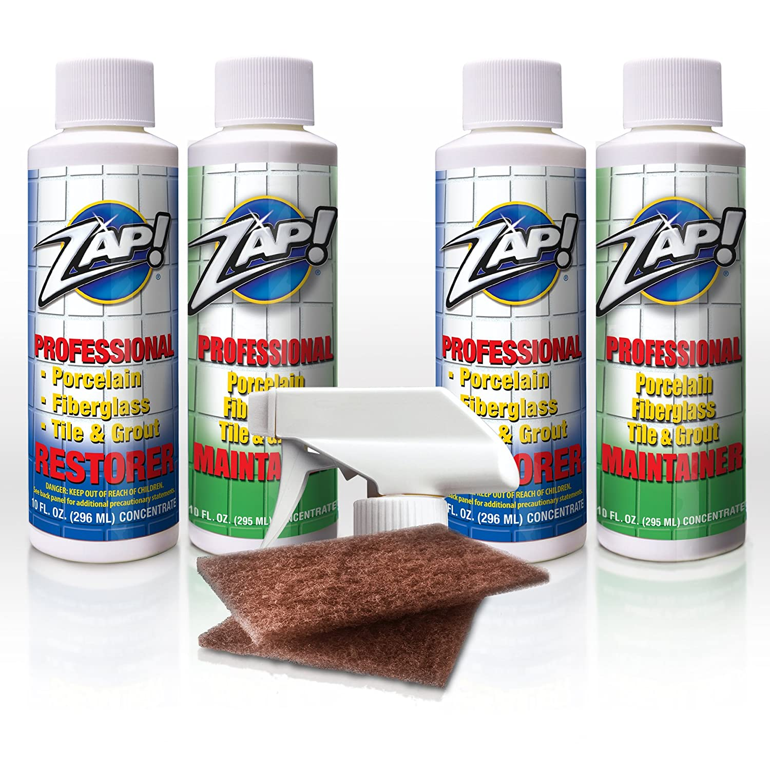 Zap! Professional Restorer & Maintainer for Porcelain, Tile & Grout, Fiberglass and Real Metals Like Chrome, Brass and Copper