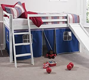 Cabin Bed White & Mattres with Slide Blue Tent 6005WG BLUE+ MATTRESS       reviews and more information