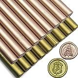18 Sticks Glue Gun Sealing Wax Sticks,for Retro Vintage Wax Seal Stamp and Letter (Metallic Champagne and Antique Brass) (Color: Antique Brass+Champagne)