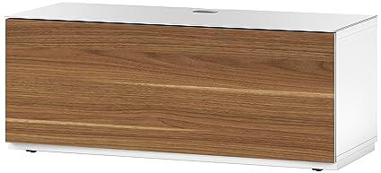 Sonorous STA 110F - WHT wnt-bs pensili TV-mobile con attacco, corpo bianco, superficie superiore, in vetro temprato bianco e pieghevole in legno di noce porta