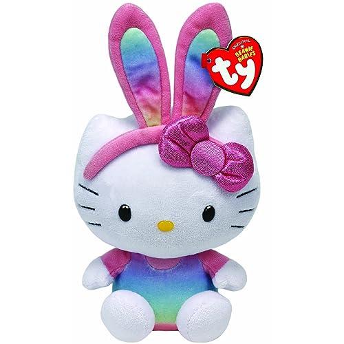 Ty Beanie Babies Hello Kitty Rainbow Bunny Ears Plush