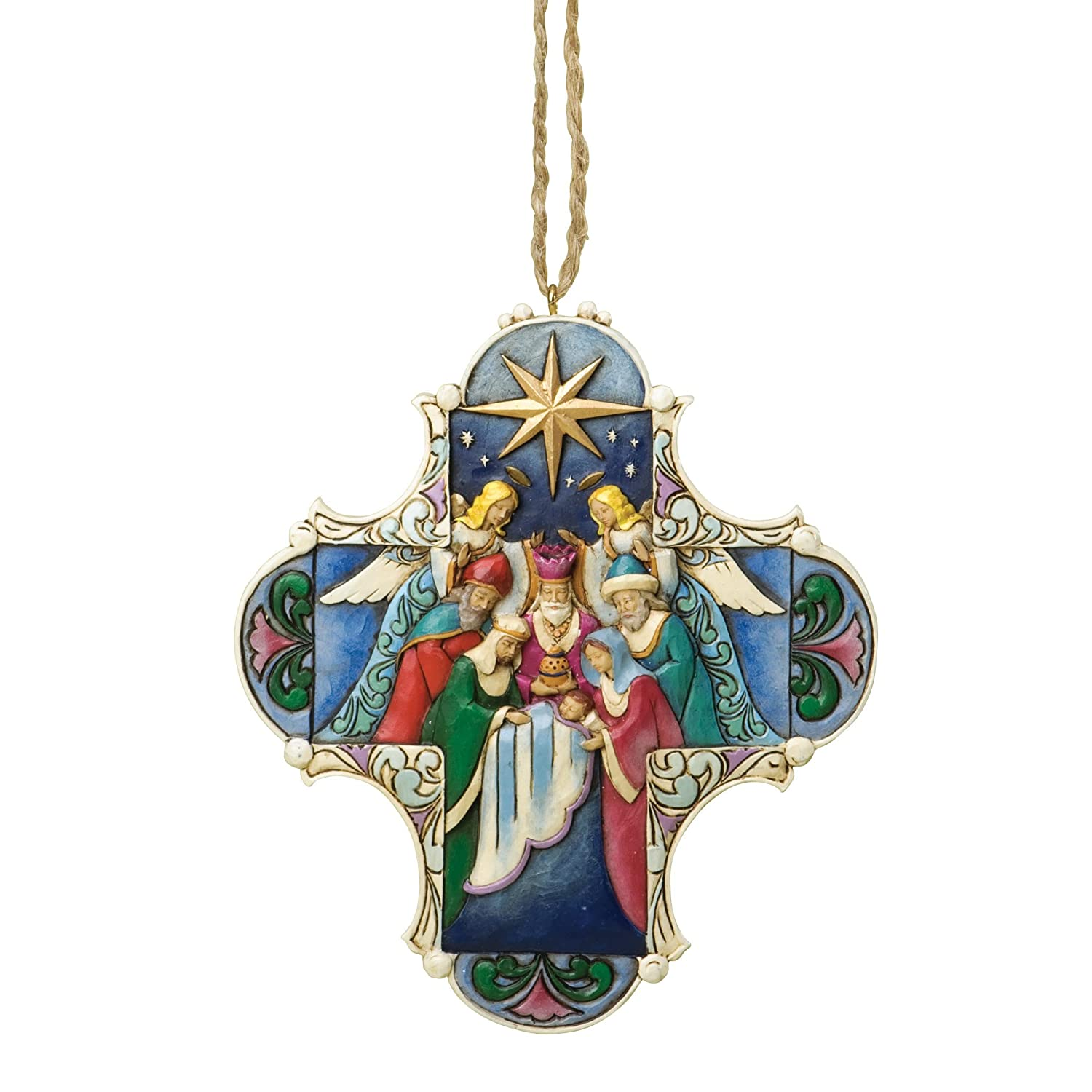 Jim Shore for Enesco Heartwood Creek Nativity Cross Ornament, 4.375-Inch
