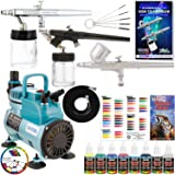 Master Airbrush Multi-Purpose Airbrushing System with 3 Airbrushes, Airbrush Paint Kit with 6 Primary Colors, Color Mixing Wheel, Color Guide and the TC-40 Cool Runner Professional Airbrush Compressor (Tamaño: Kit with