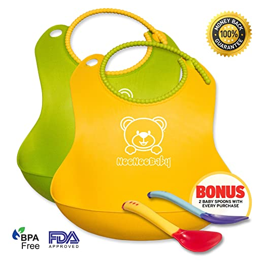 **BARGIN DEAL TODAY! - BUY AT THIS PRICE WHILE SUPPLY LAST** Waterproof Baby Bibs With Snaps Adjustable For Your Growing Toddler, Boy Or Girl | 2 Pack Set For Feeding | Perfect Fit For a Gift or Baby Shower - This Bib Will Not Scratch Your Baby Delicate Skin. It is Easy to Clean, Dishwasher Safe. 100% LIFETIME BABY PROOF GUARANTEE! BONUS 2 Spoons With Every Purchase.