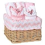 Trend Lab 7 Piece Bib & Burp Feeding Basket Gift Set, Pink Sky