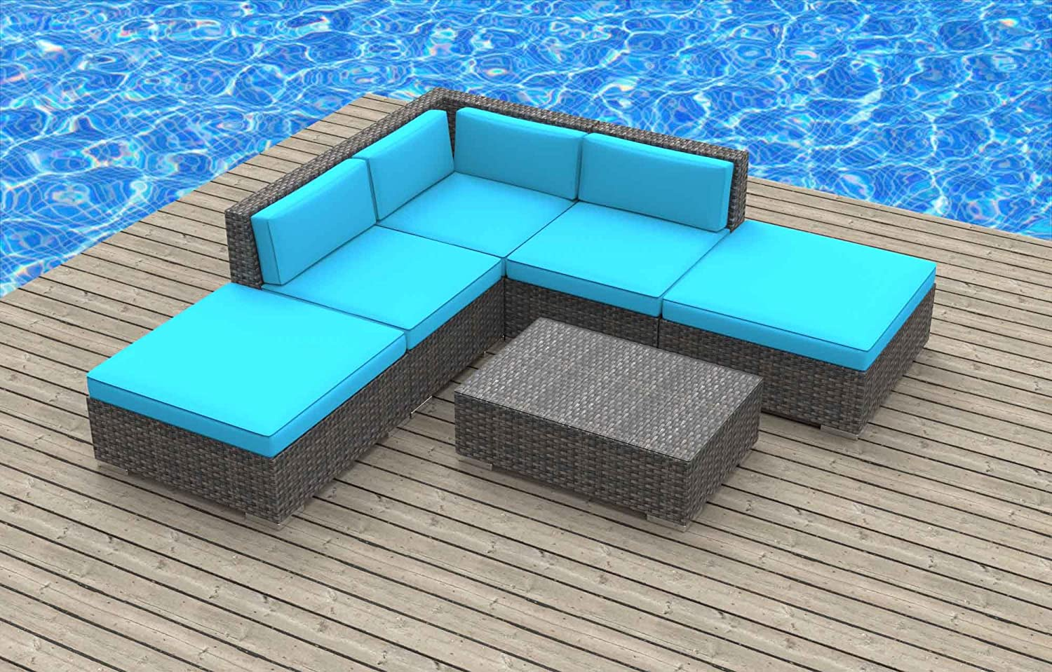 www.urbanfurnishing.net Urban Furnishing - BALI 6pc Modern Outdoor Backyard Wicker Rattan Patio Furniture Sofa Sectional Couch Set - Sea Blue at Sears.com