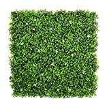 ULAND Artificial Boxwood Hedges Panels, Faux Plant Ivy Fence Wall Cover, Outdoor Privacy Fence Screening Garden Decoration (Color: Two Tone Green with White Flower)