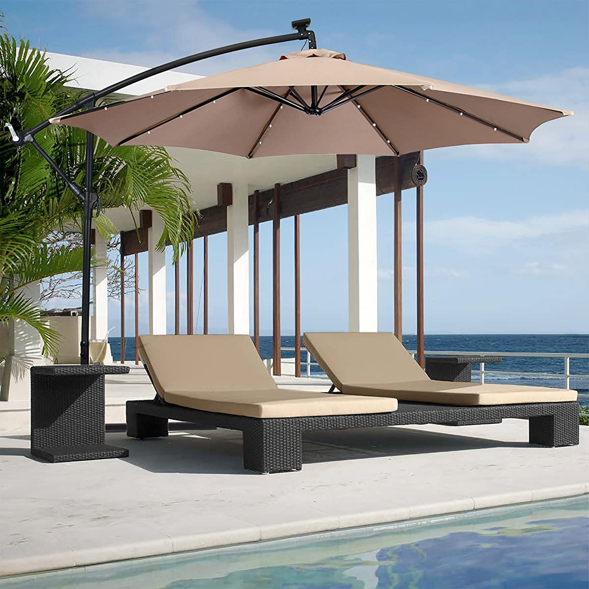 Best Choice Products 10ft Solar LED Patio Offset Umbrella w/Easy Tilt Adjustment - Tan