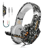 BGOOO Stereo Gaming Headset PS4, PC, Xbox One,Professional 3.5mm Noise Isolation Over Ear Headphones Mic, LED Light, Bass Surround, Soft Memory Earmuffs Laptop Mac Nintendo (Camouflage) (Color: Camouflage, Tamaño: 8.5 x 3.8 x 7.7)