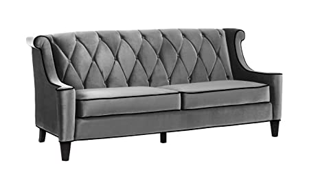 Armen Living 844 Barrister Sofa, Gray Velvet, Black Piping