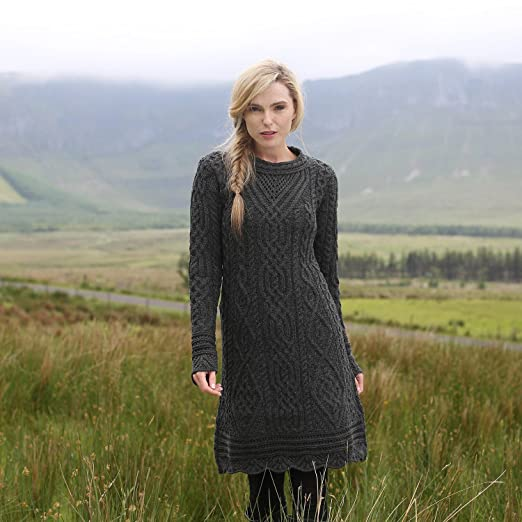 Traditional Aran Knit Dress With Scallop Lace by West End Knitwear