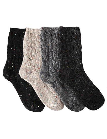OSABASA Wool Crew Socks 4,4Pairs 1 Set With Various Printing SET1
