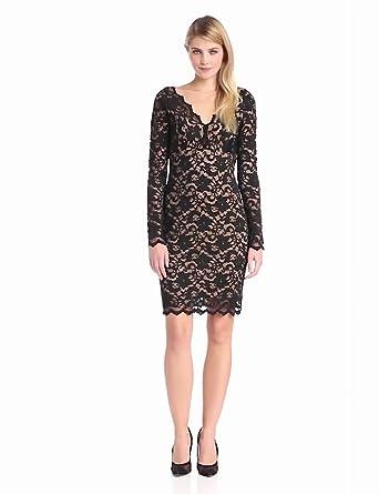 Karen Kane Women's V Neck Floral Lace Dress, Black, X-Small