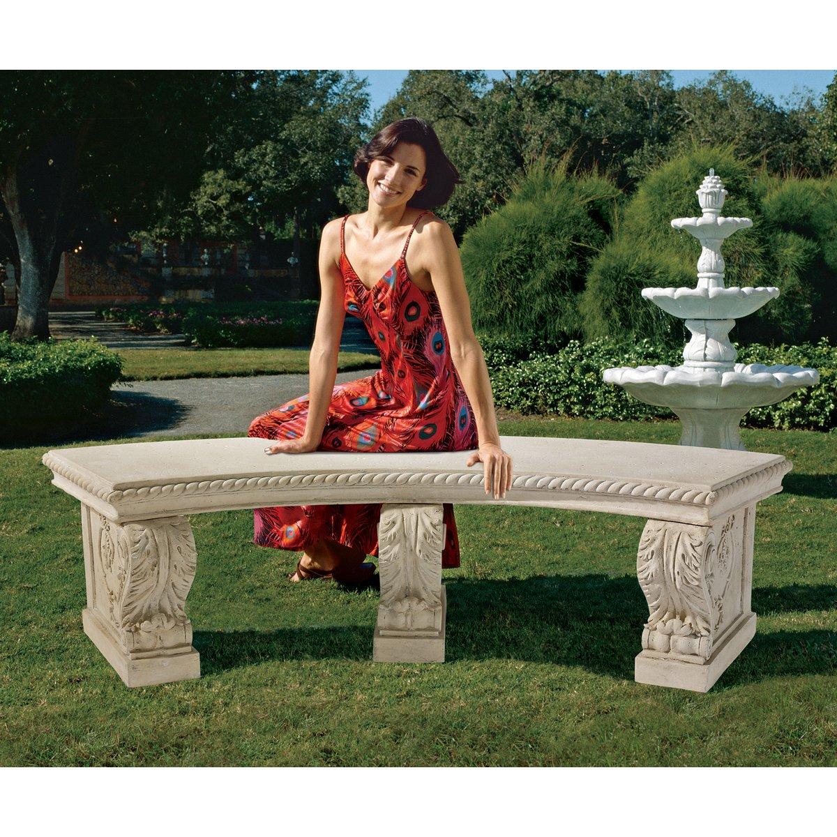 Design Toscano The Salentino Crescent Garden Bench, Ancient Ivory