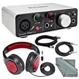 Focusrite iTrack Solo (Lightning) - USB 2.0 Audio Interface Bundle W/ XLR Cable +1/4 Inch Cable + Samson Headphones + FiberTique Cleaning cloth
