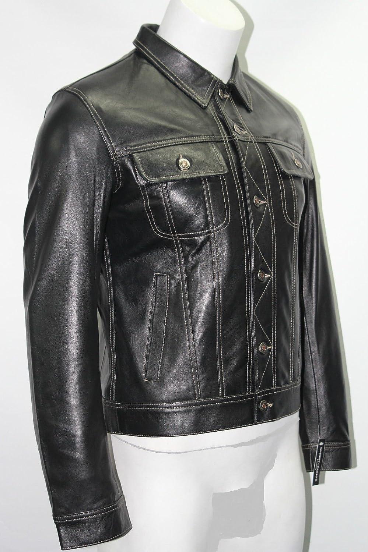 Man kurze schwarze, gepolsterte Tasche aus echtem Leder Jacke Trucker style