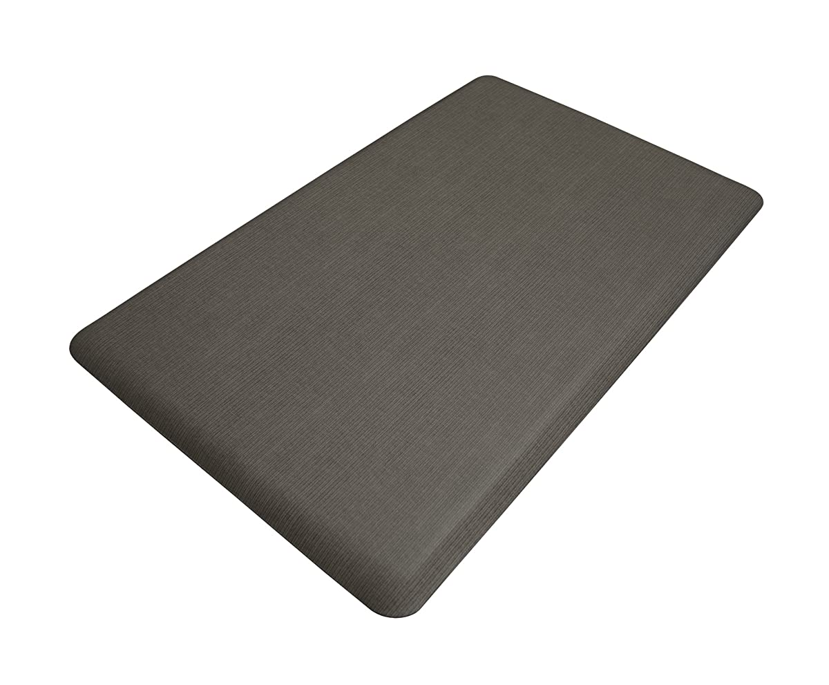 "NewLife by GelPro Anti-Fatigue Designer Comfort Kitchen Floor Mat, 18x30"", Modern Grasscloth Charcoal Stain Resistant Surface with 5/8"" thick ergo-foam core for health and wellness"